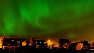 Northern lights above Wick, in Caithness