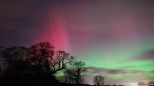 The Northern Lights seen over Shap, Cumbria