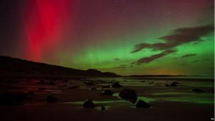 The Northern Lights at Embleton Bay in Northumberland