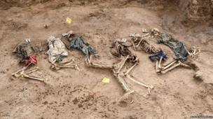 Six bodies are revealed in one of three recently excavated graves