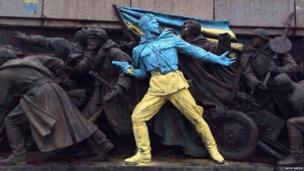 A photo of a statue in Sofia, Bulgaria which has been repainted in protest at the situation in Ukraine.