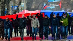 Pro-Russian protesters in Simferopol, Crimea