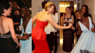 Lupita Nyong'o backstage with Anne Hathaway and Jennifer Lawrence