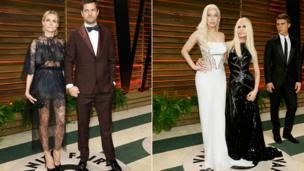 Diane Kruger, Joshua Jackson, Lady Gaga and Donatella Versac at the Vanity Fair party