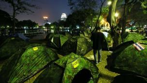 Camp in Lumpini park in Bangkok