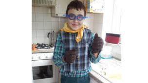 Alexander dressed as Toad from Wind in the Willows