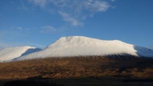 Snow on a mountain