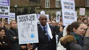 Protesters against legal aid cuts, outside Westminster