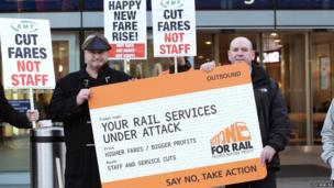 RMT General Secretary Bob Crow (left) and ASLEF General Secretary Mick Whelan (right) during a fares protest, 2014