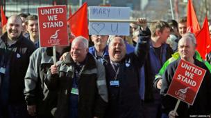 Unite members during a walk out at the Faslane nuclear base, on the Clyde, Scotland