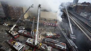 Multiple crews of firefighters tackle the blaze