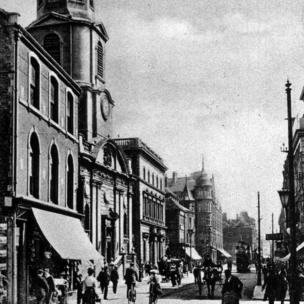 Worcester in 1919 showing The Cross and Foregate Street