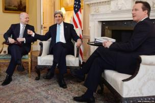 Prime Minister David Cameron (right) and Foreign Secretary William Hague (left) meet with US Secretary of State John Kerry (centre) to discuss the political situation in Ukraine in the White Room of 10 Downing Street