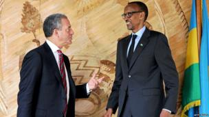 US Special Envoy for the Great Lakes Region, Russell Feingold, left, speaks with Rwanda's President Paul Kagame, Getty Images