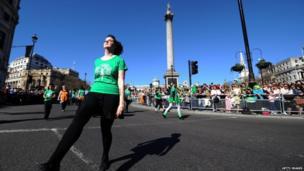 St Patrick's Day dancers in Trafalgar Square