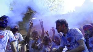 Nepalese revellers celebrate the Holi spring festival in Kathmandu on 16 March 2014