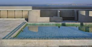 Unite d'Habitation, Marseilles, 1946-52. View of the terrace roof, the pool and the sea