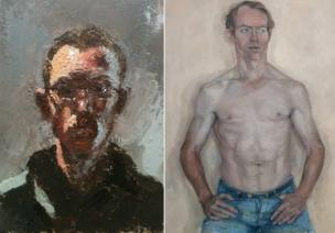 Benjamin Hope, Self Portrait in Leftover Paint, oil, 34 x 44 cm and Annabel Cullen, Untitled (Adrian Gilian), oil on canvas, 108 x 82 cm