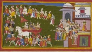 Rama heads into exile with his wife and brother after his stepmother intervenes to get her son crowned instead. The townspeople show their grief.