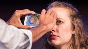 Woman testing Peek Vision