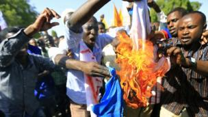 Demonstrators in Sudan burn French flag during a rally against the killing of Muslims in neighbouring Central African Republic - Friday 14 March 2014