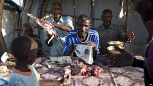 A butcher's stall in the UN base in Malakal, South Sudan - Thursday 20 March 2014