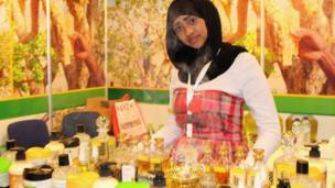 A woman at a stall in Dubai with products made from frankincense made in Somalia - Tuesday 18 March 2014