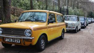 Cars queue for Brooklands Mini Day 2014