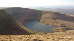 Llyn y Fan Fach lake from the top of Bannau Sir Gaer Mountain by Dave Hollin from Undy in south Wales