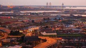 An image taken by Russ Lewis of Port Talbot and docks area just after sunset