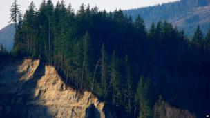 The landslide left behind a 600ft high cliff known as a head scarp