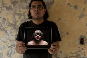 Photographer Tochiro Gallegos on the roof of his studio in Reynosa, Tamaulipas, Mexico