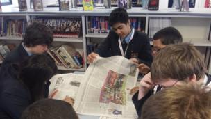 Bluecoat Academy School Reporters in Nottingham are already hard at work, trawling through today's newspapers.