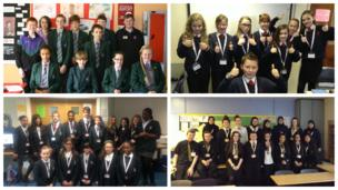 Pupils at St Wilfrid's School (top left), Cirencester Kingshill School (top right), St Michael's Catholic School (bottom left), and Bellahouston Academy (bottom right), on News Day 2014.