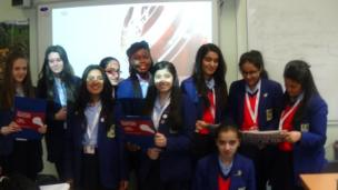 The team from St Joseph's Catholic College on BBC News School Report Day 2014.