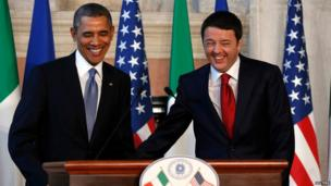 US President Barack Obama and Italian Prime Minister Matteo Renzi laughing at a news conference in Rome