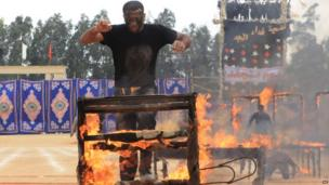 A security force member takes part in a training exercise in Cairo, Egypt, on 23 March 2014