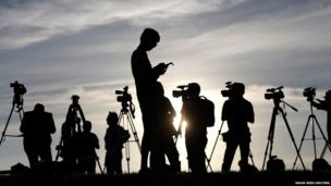 Journalists on the tarmac of RAAF Base Pearce near Perth