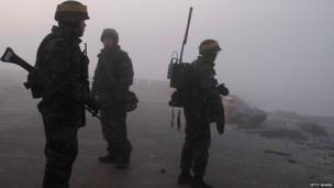 South Korean marines patrol Yeonpyeong Island on 20 December 20, 2010
