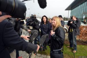 Margaret Aspinall, the Chairperson of the Hillsborough Family Support Group, arrives at Birchwood Park, Warrington