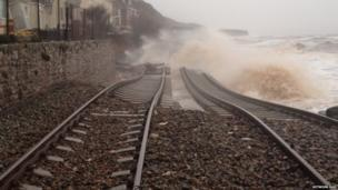 Dawlish tracks being overwhelmed by the sea