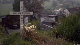 The grave of Dylan Thomas, St Martin's Church, Laugharne, 1969