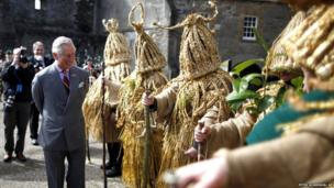 Prince Charles meets Aughakillymaude Mummers