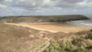 Vicky Barrett, from Pembrokeshire, says her husband took this view of the beach at Broadhaven