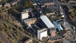 Aerial site of Ditherington Flax Mill
