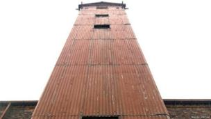 Detail of the corrugated iron tower, part of the world's first iron-framed building