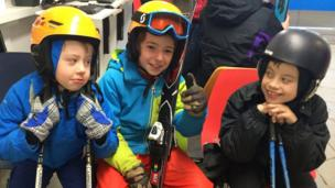 Boys in ski gear