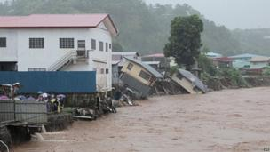A flooded street of the Solomon Islands' capital Honiara