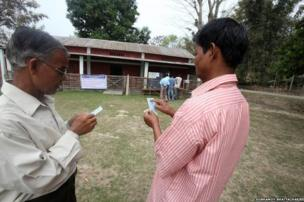 A voter in Assam's Sibsagar district