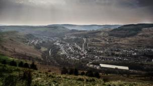 Looking down on the Rhondda valley